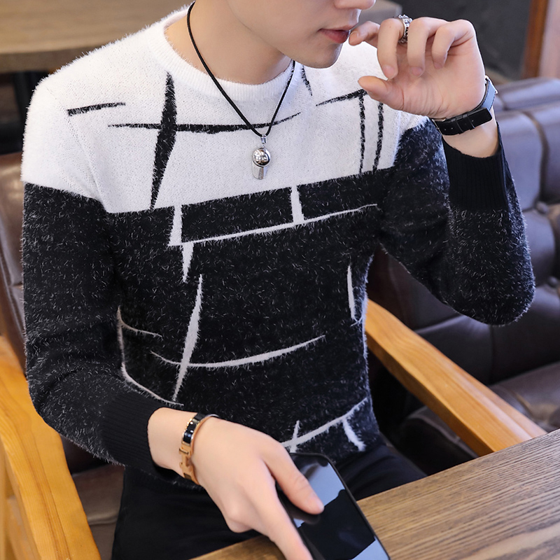 2019 Autumn Winter Warm Wool Sweaters Casual Hit Color Patchwork O-neck Pullover Men Brand Slim Fit Cotton Sweater