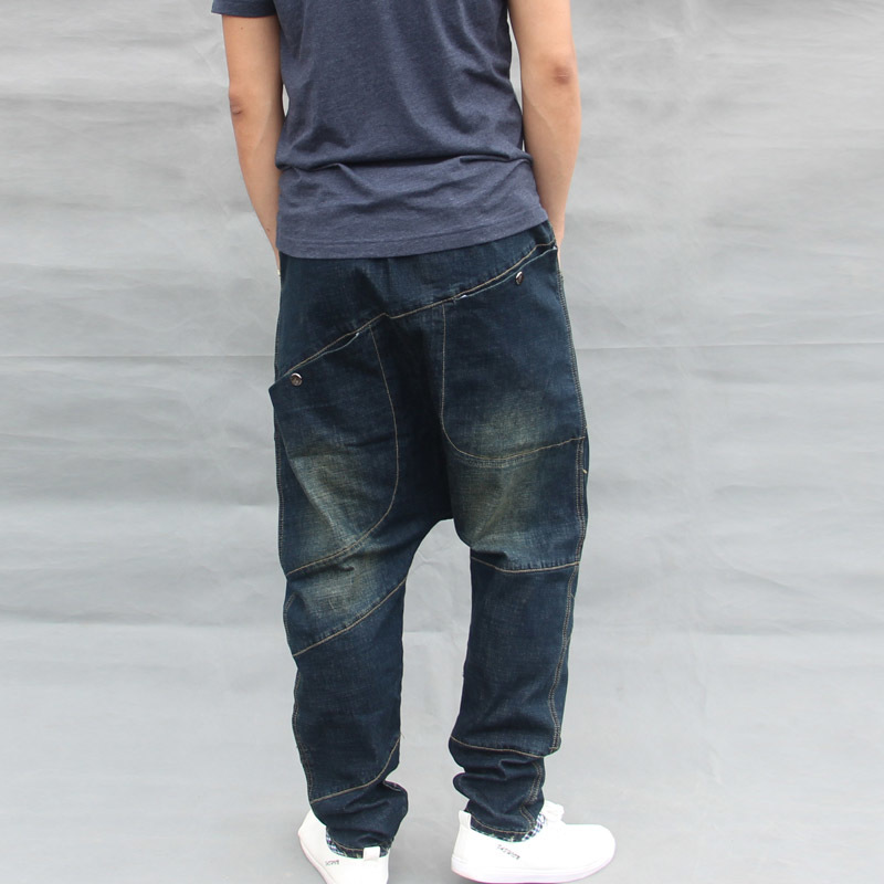 Korean New Fashion Mens Harem Pants Dark Blue Hip Hop Loose Cotton Jeans Male Elastic Waist Baggy Jeans Cross Pants Pantalones