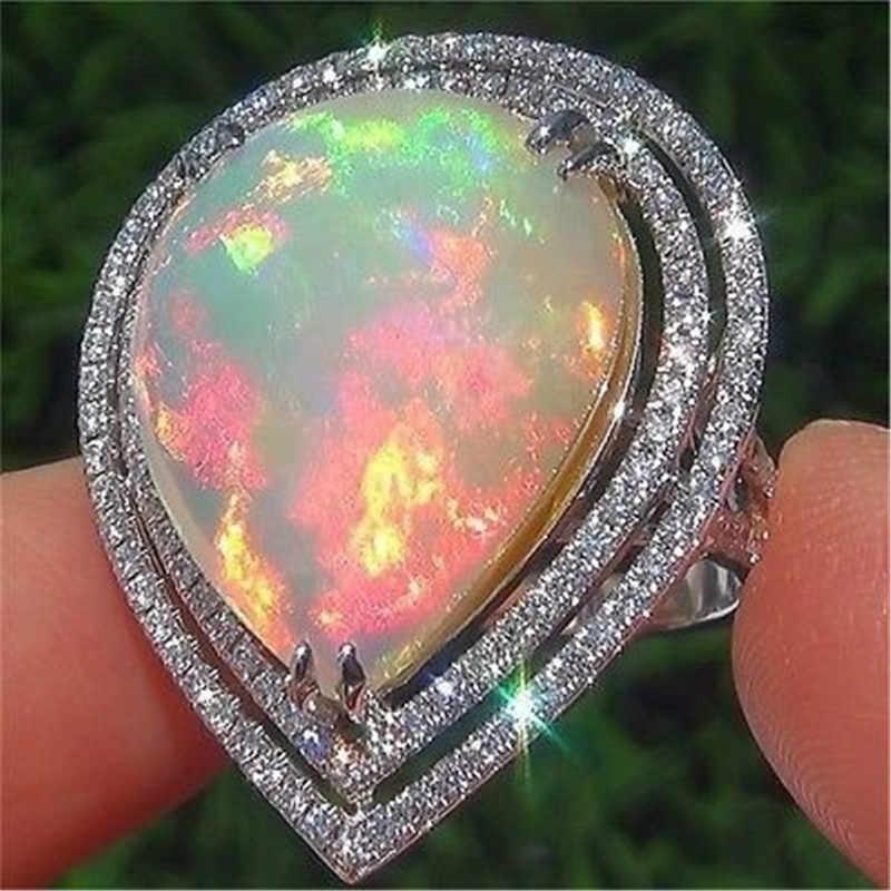 WUKALO 2020 Thương Hiệu Mới Lớn Nước Thả Hình Nhẫn Nữ Opal Nữ Màu Bạc Đá CZ Nhẫn Cưới Cho Người Phụ Nữ