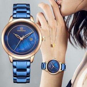 Image 3 - נשים שעונים NAVIFORCE למעלה מותג יוקרה שעון קוורץ עמיד למים נשים של שעוני יד גבירותיי בנות אופנה שעון relogios feminino