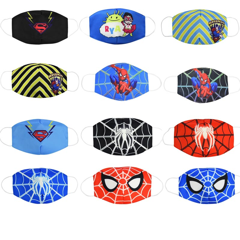 2020 Boy Hero Cotton Face Mouth Mask Adults Kids Cartoon Spiderman Superman Printed Boys Dustproof Cover Anti Dust Mouth-Muffle