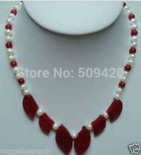 ~~ Free WholesaleReal White Pearl Red Jade Leaf Pendant 18KWGP Clasp Necklace(China)