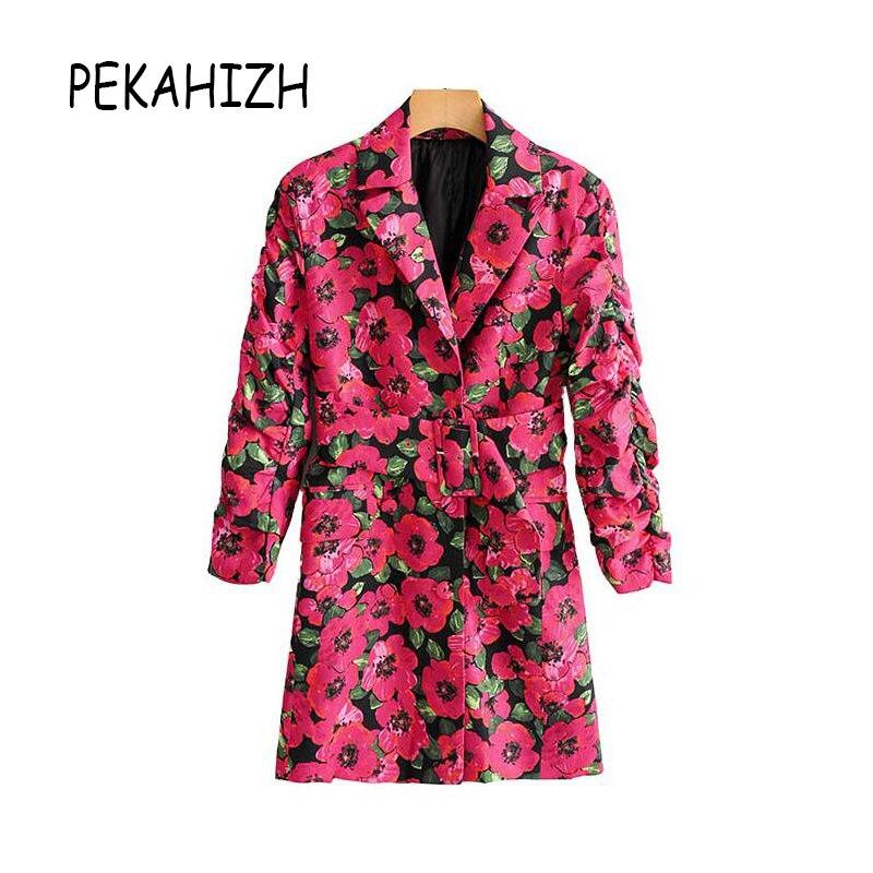 Vintage Women Blazers And Jackets Boho Floral Print Sashes Long Blazer Feminino Long Sleeve Pockets Ladies Blazer Jacket 2019
