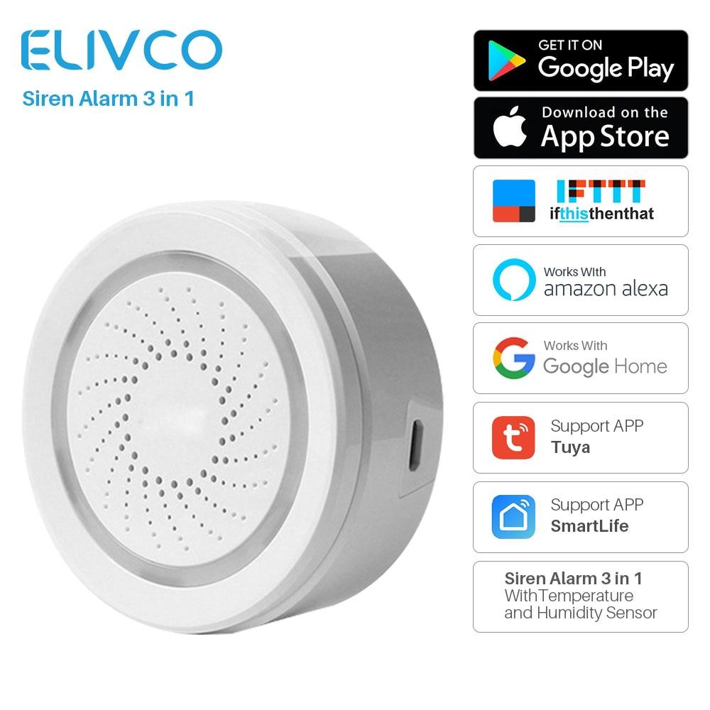 Güvenlik ve Koruma'ten Alarm Sireni'de WiFi siren alarmı Sensörü 3 in 1 Sıcaklık Nem Sensörü Ile SmartLife APP Bildirim Uyarıları Workes Alexa Google Ev Ile title=