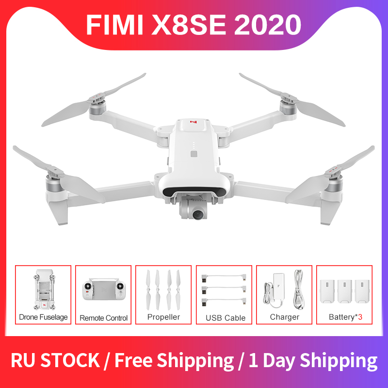 FIMI X8SE 2020 Version RC Drone 8KM FPV 3-Axis Gimbal 4K Camera HDR Video GPS 35mins Flight Quadcopter ChargeBattery RTF RUstock