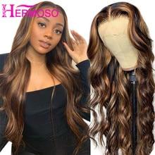 Peluca resaltadora de 30 pulgadas cabello humano ondulado rubio miel, pelucas frontales de encaje, peluca marrón 4/27, pelucas de cabello humano de colores llamativos