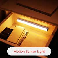 Luz LED con Sensor de movimiento PIR inalámbrico de 6/10/20 LED para armario, escaleras, cocina, luz nocturna, USB/batería