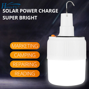 HoneyFly New LED Solar Charge Portable Lamp Camping Night Market Bulb 42LED Built-in 18650 Battery Emergency Light(China)