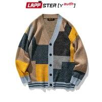 Cardigan invernale Patchwork uomo LAPPSTER-Youth 2021 autunno uomo Harajuku moda coreana maglione lavorato a maglia Oversize cappotti con bottoni maschili