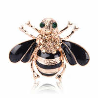 Bee Brooches Enamel Esmalte Broches Gold Color Champagne Rhinestone Hijab Pins juego de tronos Halloween joyas High Quality