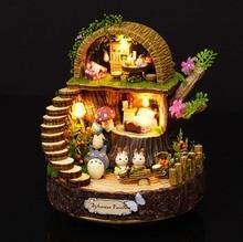 Floresta de madeira totoro diy casa de boneca decoração de casa artesanal dos desenhos animados kit em miniatura casa montagem brinquedos presente brinquedo
