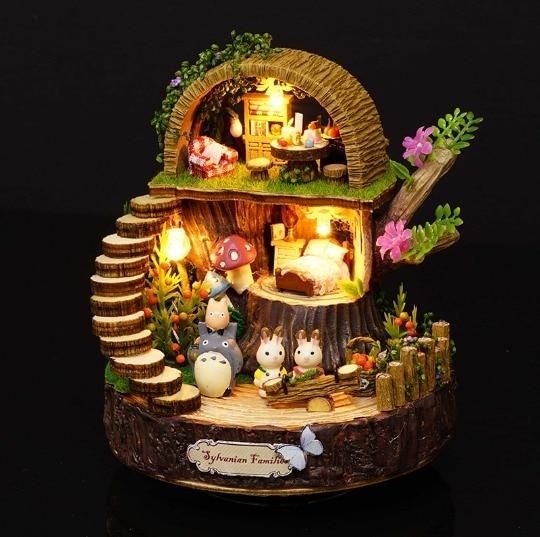 יער עץ Totoro DIY בובת בית עיצוב הבית בעבודת יד קריקטורה ערכת מיניאטורות בית הרכבת צעצועי בובות מתנת צעצוע