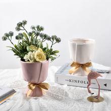 Керамическая ваза в скандинавском стиле с бантом креативное