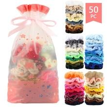50 цветов, винтажные резинки для волос, эластичные бархатные резинки для волос, женские эластичные резинки для волос, головные уборы для девочек, простые резиновые резинки для волос