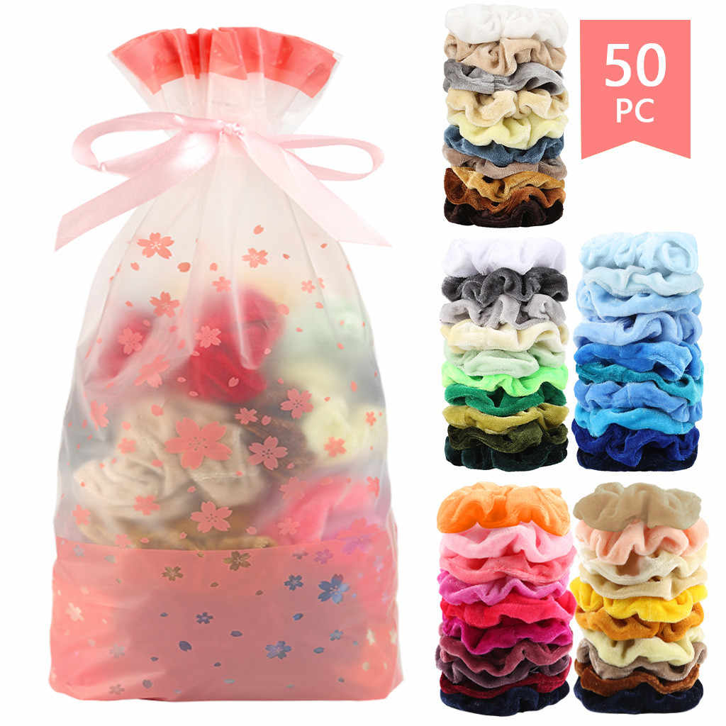 50 Colors Vintage Hair Scrunchies Stretchy Velvet Scrunchie Pack Women Elastic Hair Bands Girl Headwear Plain Rubber Hair Ties