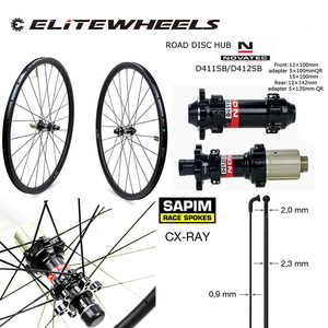 Image 2 - Дорожные дисковые велосипедные карбоновые колеса ELITE 700c Novatec D411 с 6 болтами или центральным затвором