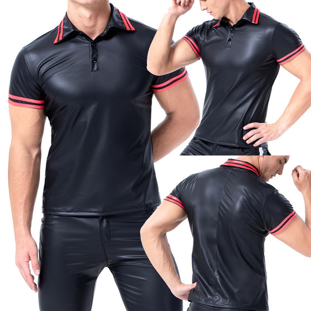 Mens T-shirts PU Leather Short Sleeve Body Shapers Streetwear Plus Size Undershirts Party Clubwear Sexy Shirts Tee Chemise XXL 6