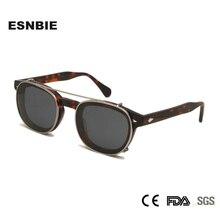 작은 아세테이트 광학 안경 프레임 선글라스에 라운드 클립 남자 편광 된 uv400 고품질 여성 그늘 조니 depp 스타일