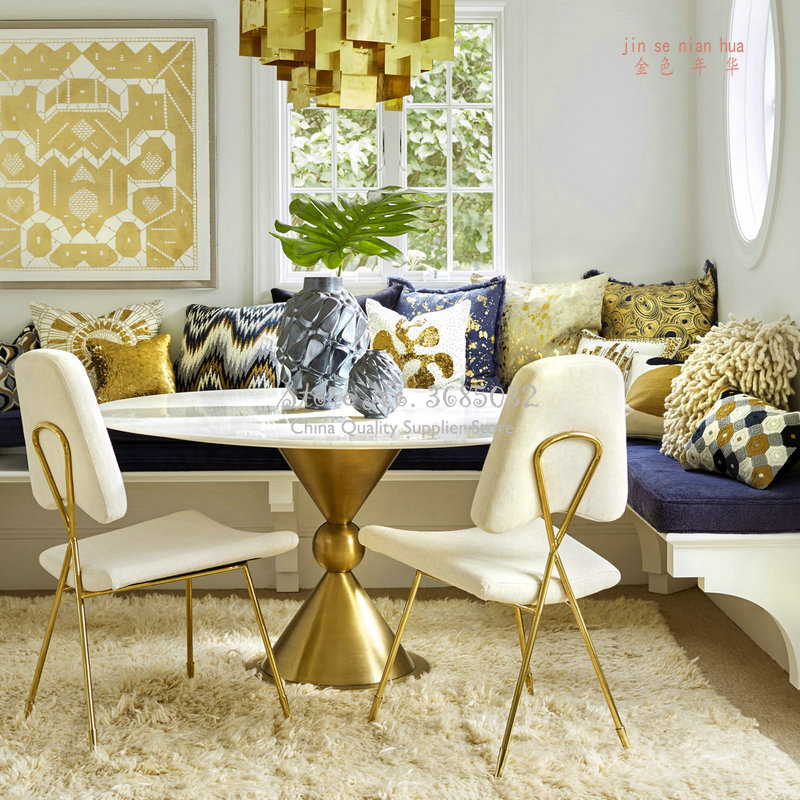 Nordic Creative Iron Dining Chair Simple Modern Backrest Velvet Chair Bedroom Casual Golden Makeup Chair