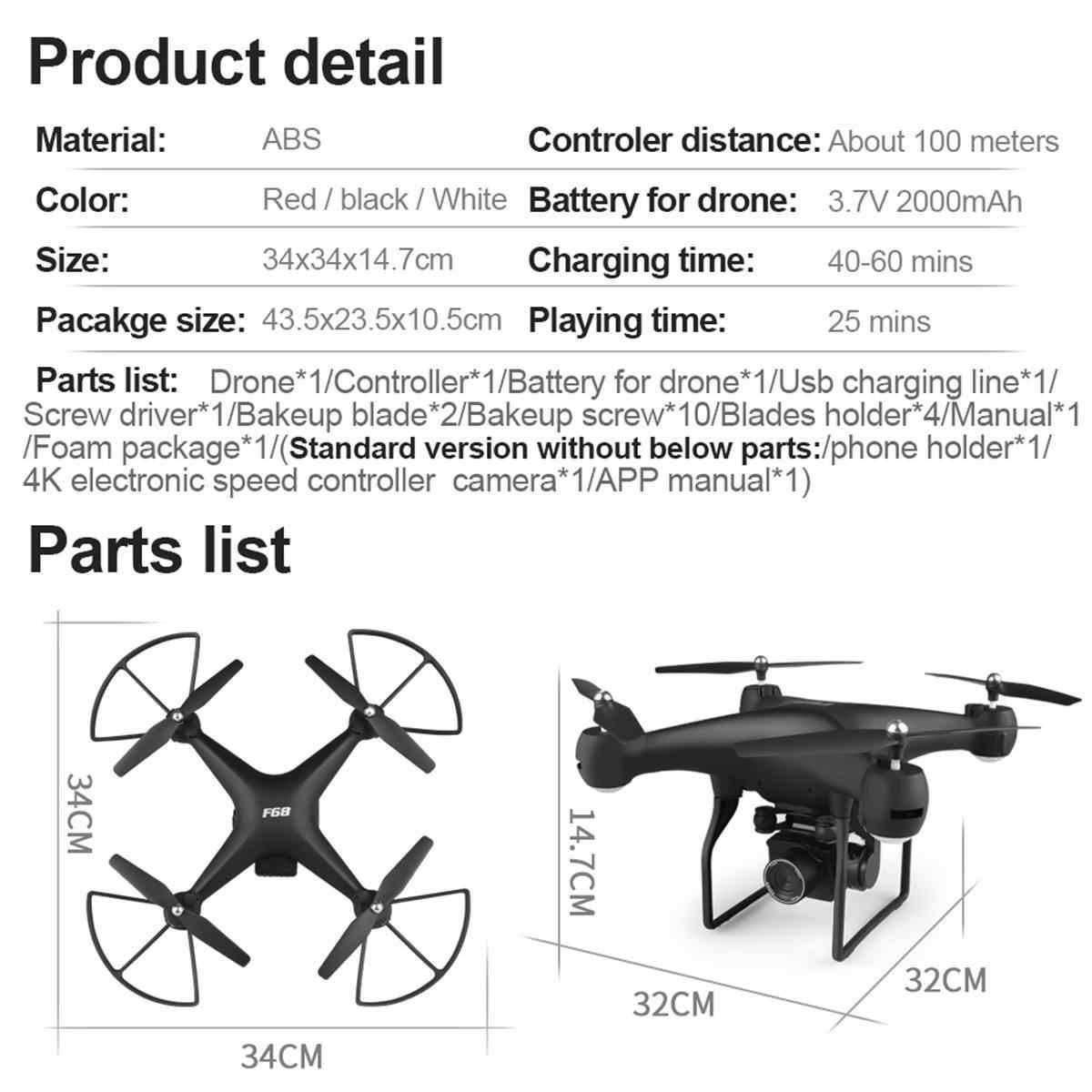 Novo Design 4K 1080 HD Quadcopter WI-FI FPV Aérea Câmera com Wide Angle Alta Modo Hold Dobrável Braço RC zangão Com Bateria