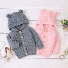 2020 Autumn Hooded Knitting Jacket For Baby Clothes Newborn Baby Coat Baby Boy Girl Jacket Winter Kids Coat For Infant Outerwear cheap Fashion Polyester COTTON baby jacket Fits true to size take your normal size Worsted Unisex Jackets cotton+polyester knitting