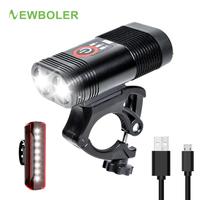 NEWBOLER 2000LM Bike LED Light USB Rechargeable Flashlight For Bicycle MTB Bike Front Lamp With Rear Light Set Cycling Headlight