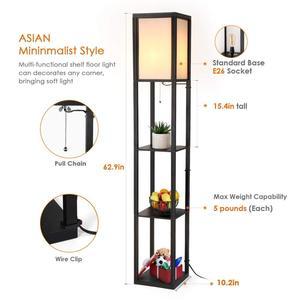 Image 5 - Ganeed Lámpara de pie con plataforma LED luz alta de madera para Interior, iluminación de pie moderna para dormitorio, sala de estar, estudio, hogar