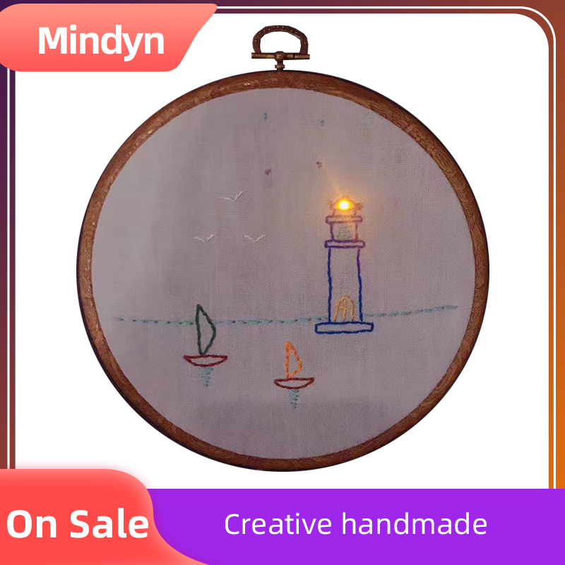 Handmade Electronic Embroidery Material Package Cute Glowing Lighthouse Pattern DIY Gift Home Store Multi-occupation Decoration
