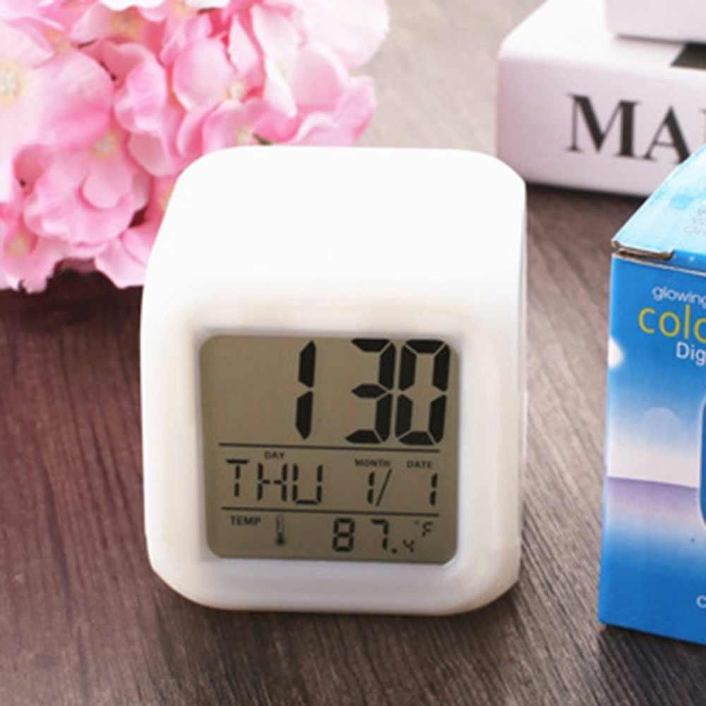 ポータブル素敵なファッション 7 色の変更正方形デジタルアラーム時計 lcd 画面表示発光モードホームオフィスの使用