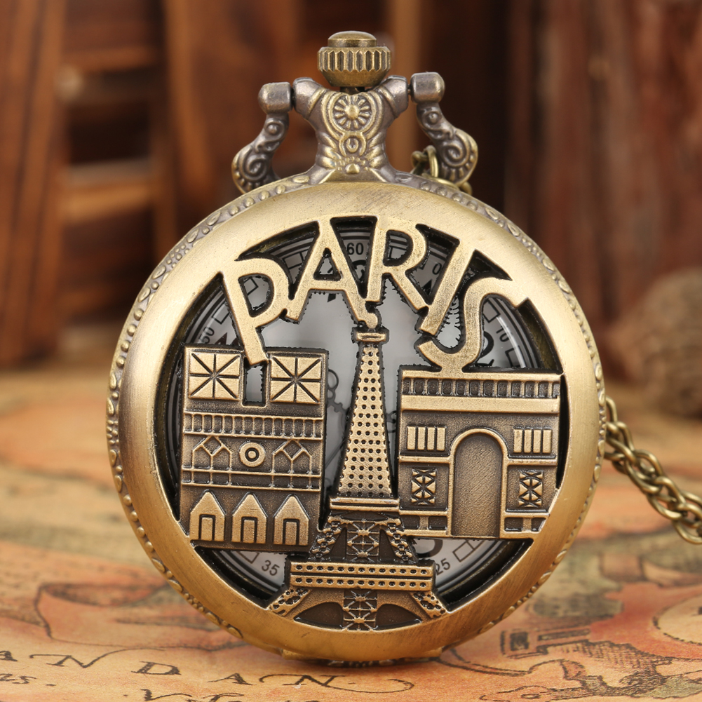 Delicate Eiffel Tower Pattern Pocket Watch Generous Big White Dial With Arabic Numerals Pocket Watches For Men Necklace Gifts