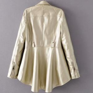 Image 5 - Twotwinstyle 2020 primavera mulher cor sólida manga longa turn down colarinho zíperes irregular hem solto casaco de plutônio jaqueta moda nova