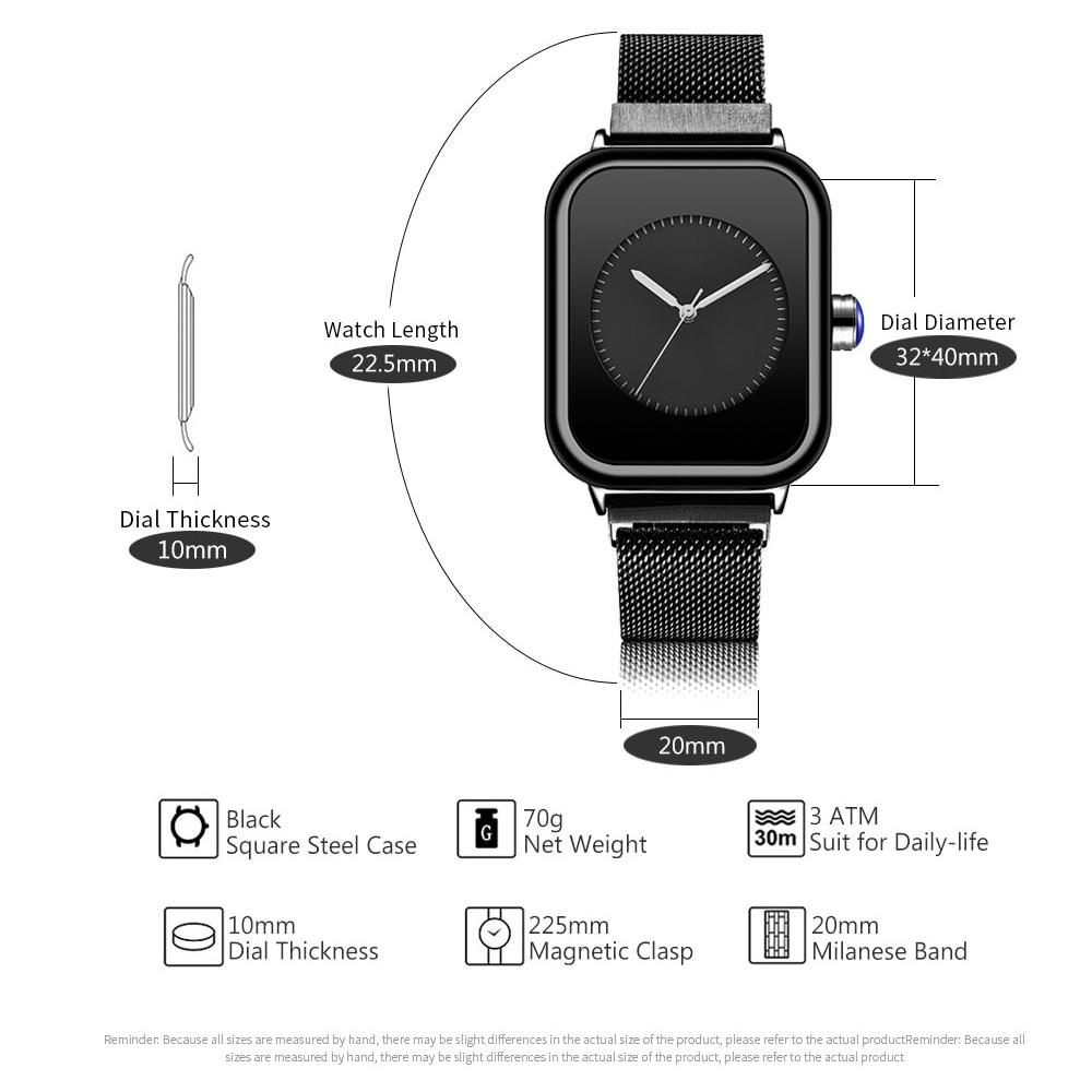 Image 3 - Creative New Women Watches Quartz REBIRTH Square Magnetic Minimalist Ladies Wristwatch Rose Gold Luxury Band Reloj Mujer 2019Womens Watches   -