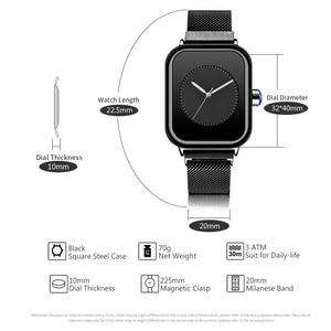 Image 3 - Creative New Women Watches Quartz REBIRTH Square Magnetic Minimalist Ladies Wristwatch Rose Gold Luxury Band Reloj Mujer 2019