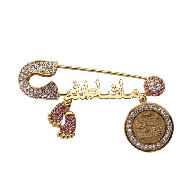 islam four Qul suras Mashallah in arabic Turkish evil eye Stainless Steel brooch Baby Pin