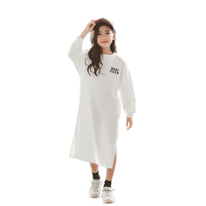 Image 3 - Spring Long Sleeve Letter Print Dresses for 3 16Yrs Girls T Shirt Dress Long Hoodie Dress Teens Pullover Moletom Feminina CA252