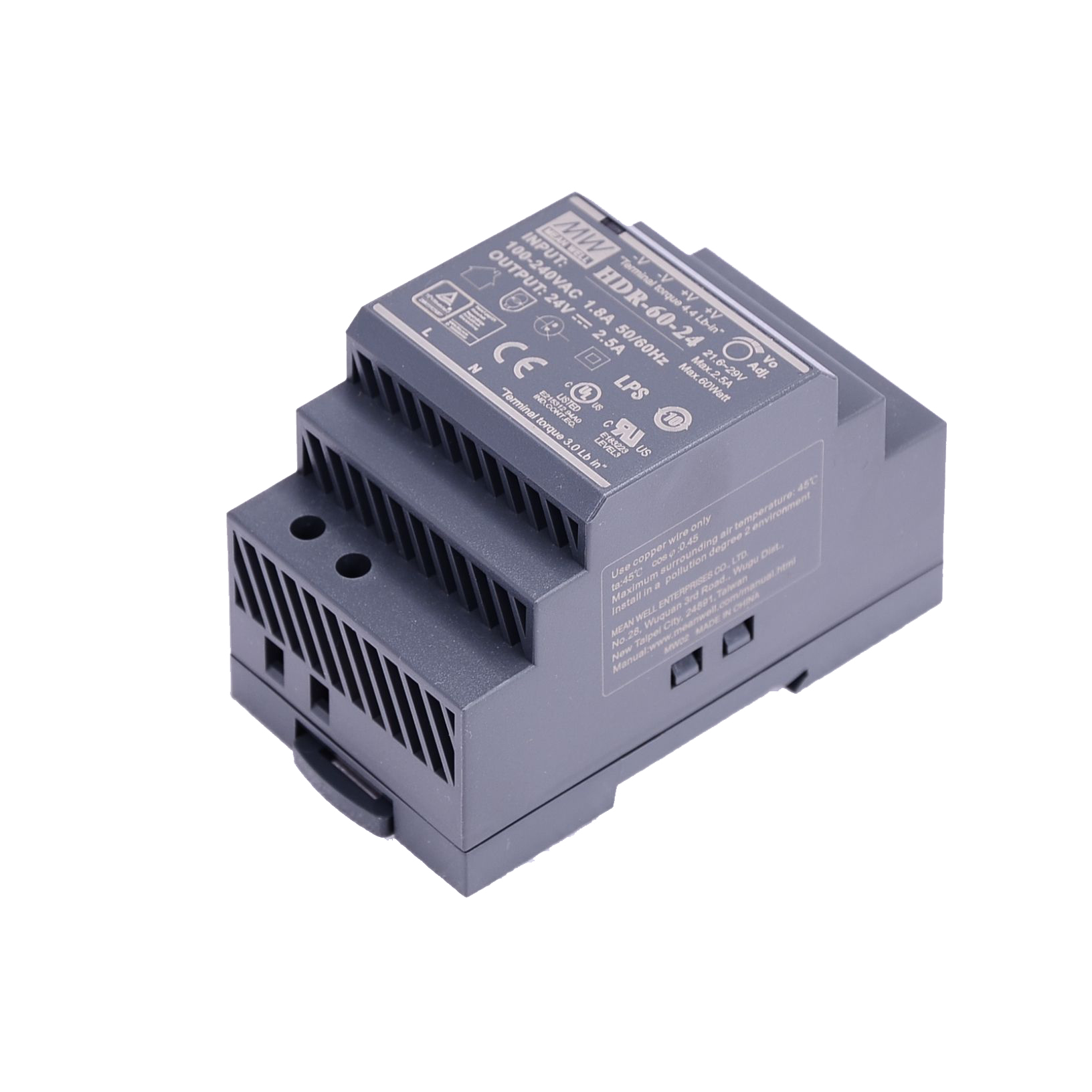 Original Mean Well HDR-15 30 60 100 150 series DC 5V 12V 15V 24V 48V meanwell Ultra Slim Step Shape DIN Rail Power Supply-3