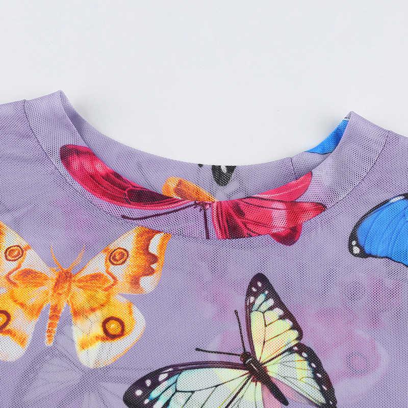 Darlingaga renkli kelebek baskı örgü üst kadın tişört 2020 Harajuku şeffaf İnce mahsul Tops Tees yaz t-shirt moda