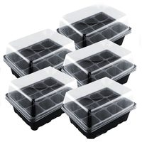 5 Set 12 Cells Nursery Pot Planting Seed Tray Kit Plant Germination Box With Lid Garden Grow Box