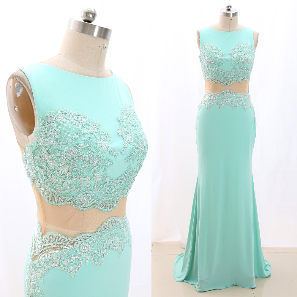 MACloth Turquoise Sheath O Neck Floor-Length Long Crystal Jersey   Prom     Dresses     Dress   S 266922 Clearance