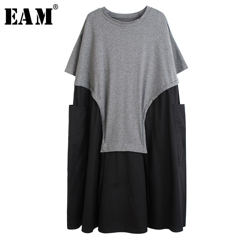 [EAM] Women Gray Big Pocket Split Big Size Dress New Round Neck Short Sleeve Loose Fit Fashion Tide Spring Summer 2020 1S592