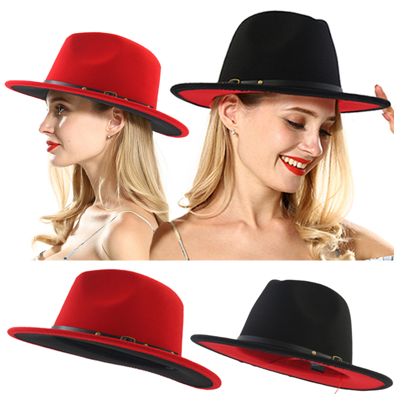 Hot Sale Black Patchwork Wool Felt Jazz Fedora Hats Belt Buckle Decor 1PC Soft Unisex Comfortable Adjustable Wide Brim Red Hat