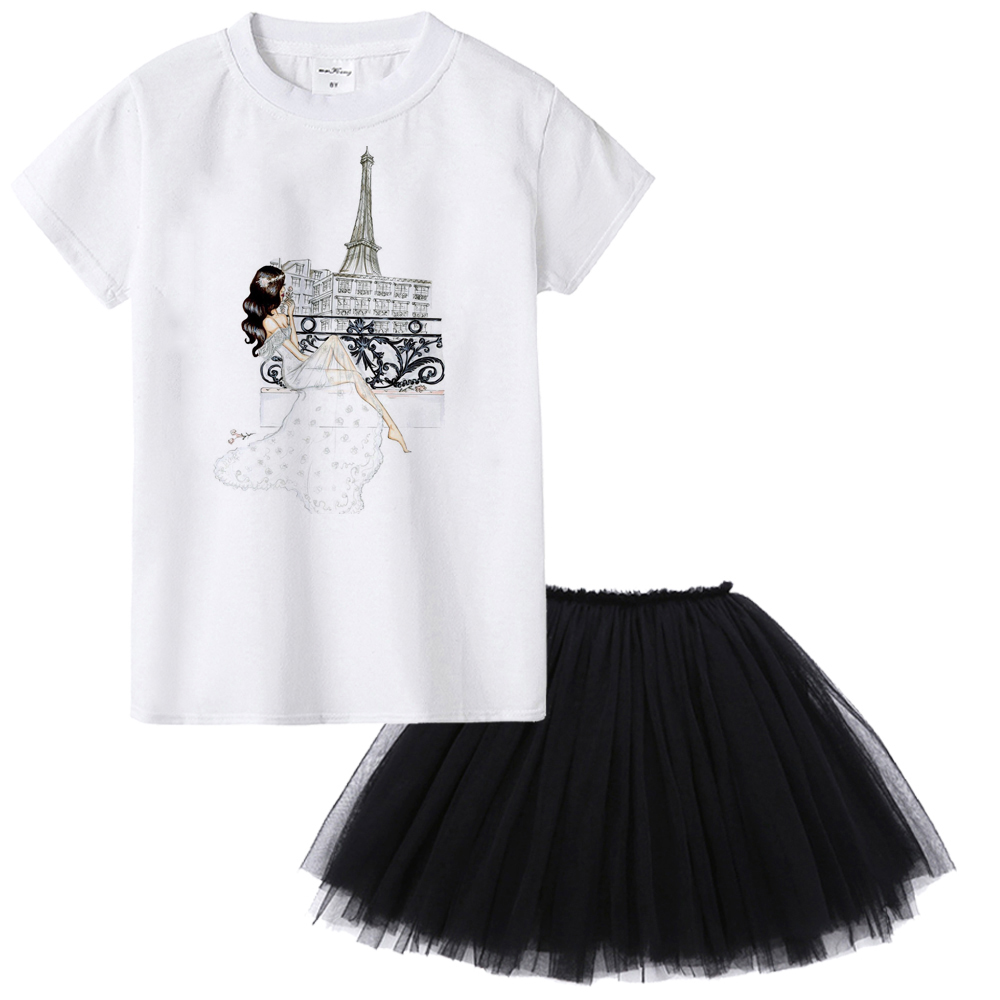 T-Shirt Clothing-Set Outfit Skirt Girls Black Kids Children Fashion Summer Tops Casual