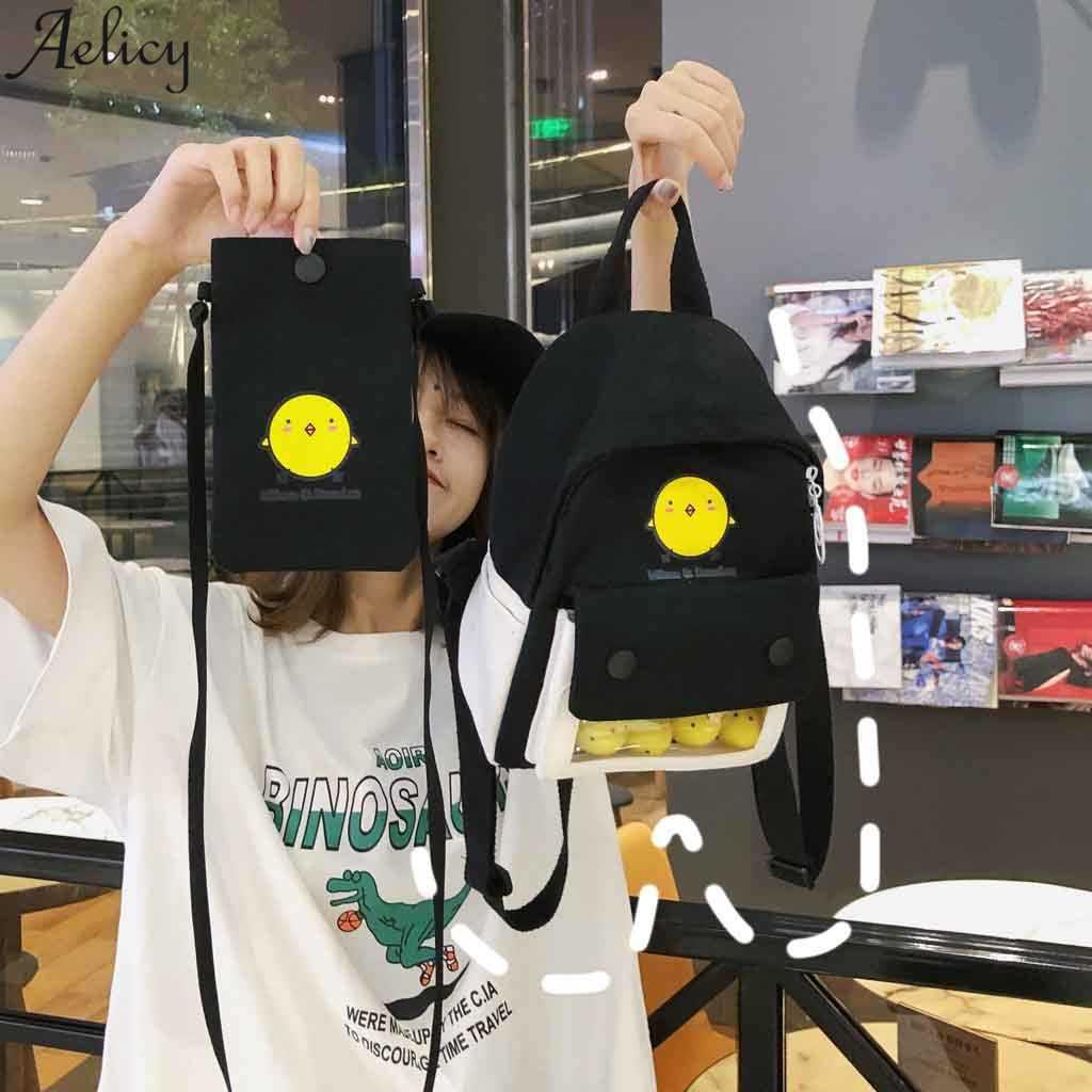 Aelglacial mode dames coton lin sac à bandoulière mignon sac à dos grande capacité sac étudiant sport sac à dos cartable