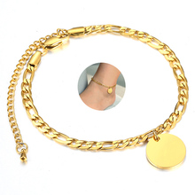 Anklet Jewelry Stainless-Steel Name for Women Girls Gold-Color Engraving-Name Pendant