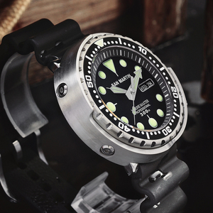 Image 4 - San Martin Tuna SBBN015 Diver Automatic Men Watch Stainless Steel Fluoro Rubber Calendar Week Display Ceramic Bezel Sunray Dial