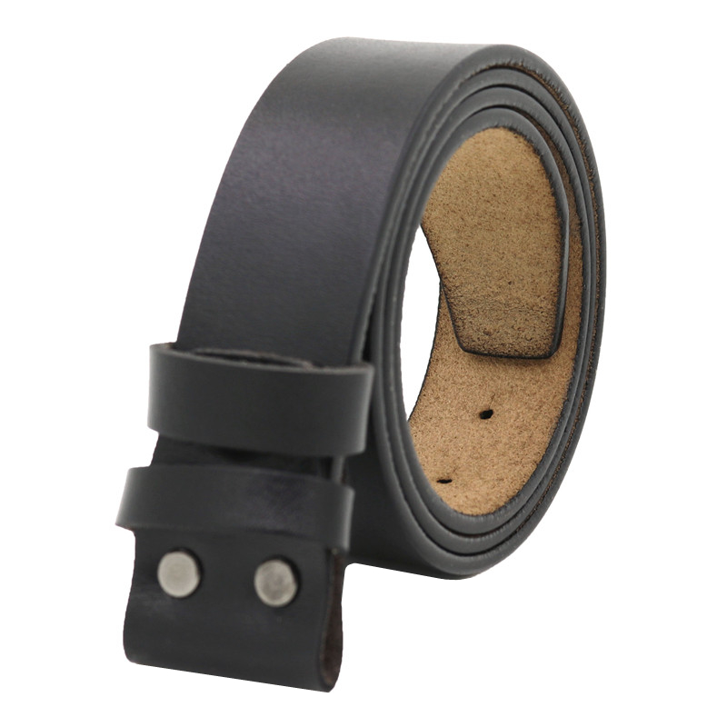 LannyQveen Mens Belt 100% Pure Cowhide Belt Strap 3.8CM No Buckle Genuine Leather Belts With Holes High Quality