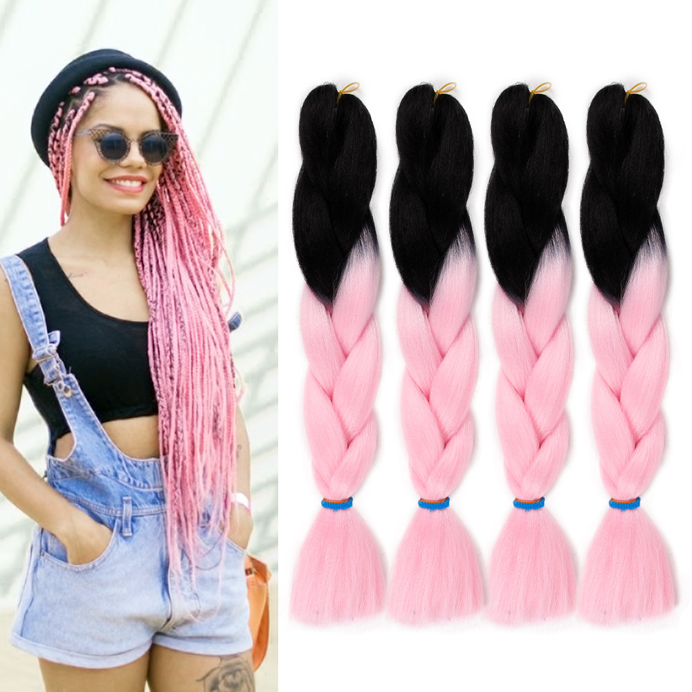 ONYX Long 24 Inch Braiding Hair Extensions Jumbo Crochet Braids Synthetic Hair Style 100g/Pc Pure Ombre Color For Women