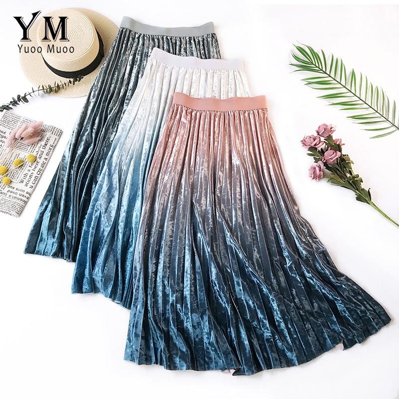 YuooMuoo Shinny Gradient Velvet Pleated Midi Skirt 2019 Good Quality Comfy High Waist A Line Skirt Autumn Ladies Skirts