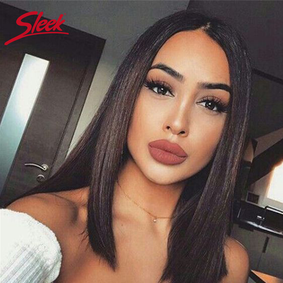 Sleek Straight Lace Front Human Hair Wigs 100% Remy Brazilian Hair Wigs Middle Part Closure Lace Wigs  Short Human Hair Wigs