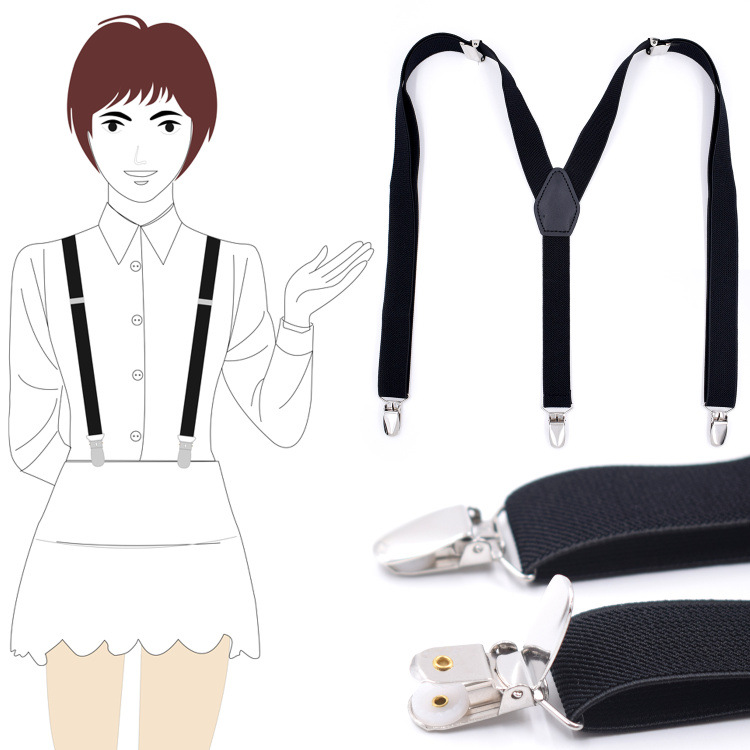 Cross Border Supply Of Goods Adult Three Clip Y-type Shoulder Strap 2.5 Cm For Both Men And Women Black And White With Pattern C